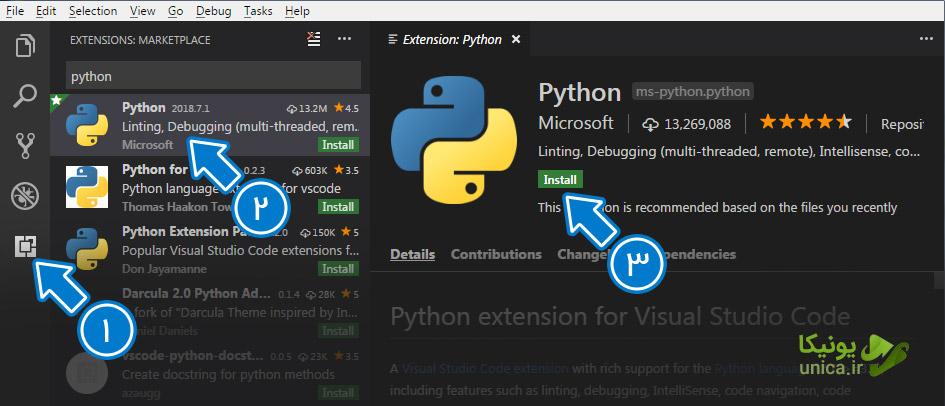 تنظیم پایتون در Visual Studio Code | سایت یونیکا